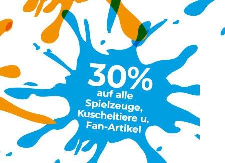 30% auf Spielzeuge, Kuscheltiere und Fan-Artikel Bild 1